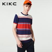 kikc短袖T恤男2018夏季新款时尚纯棉针织上衣男