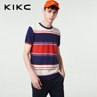 【每满100立减50,领券再减20,仅限8.15-8.18】kikc短袖T恤男2018夏季新款时尚纯棉针织上衣男-