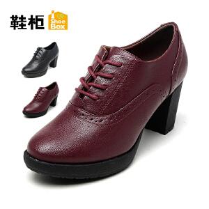 达芙妮集团 鞋柜秋系带英伦舒适高跟时装女单鞋