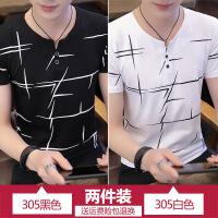 男士短袖T恤2018新款夏季潮流V领体恤韩版男装修身T恤半袖上衣服