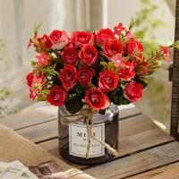 客厅餐桌玻璃花艺摆设软装饰品仿真花假花绢花玫瑰套装样板房摆件 乳白色 瓶+香水枚红色2束