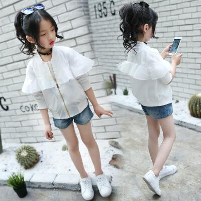 女童防晒衣夏季新款荷叶边外套中大童薄款开衫儿童白色空调服罩衣