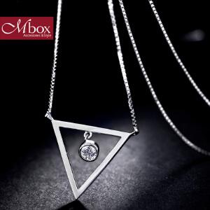 新年礼物Mbox项链 女款韩国版采用S925银镶嵌施华洛世奇锆石项链 三笙轮回