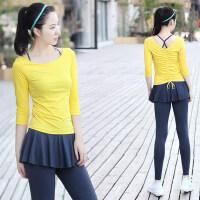 三件套假两件瑜伽服套装女 新款修身显瘦跑步速干衣健身房运动透气瑜伽服
