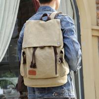 韩版男士背包 男时尚休闲双肩包 潮流帆布男包旅行包电脑包学生书包