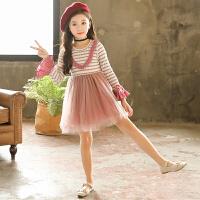 女童连衣裙秋装儿童韩版条纹针织毛衣裙女孩长袖公主裙