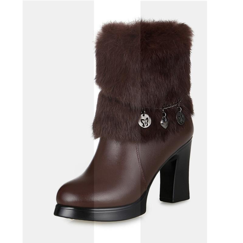 中年高跟加绒棉靴粗跟真皮女靴子兔毛口短靴冬新款皮靴加厚大棉鞋SN3548 【真皮 兔毛口】棕色