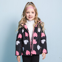【3件3折:119元】暇步士童装冬季新款女童加绒外套时尚印花简洁摇粒绒里子厚风衣儿童风衣外套