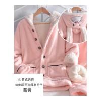 秋冬季加厚睡衣女保暖珊瑚绒韩版清新学生可爱兔子加绒法兰绒套装