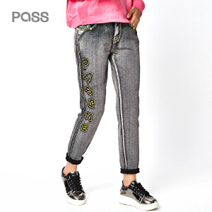 PASS秋冬装新款BF风宽松牛仔裤女休闲直筒学生裤做旧哈伦裤