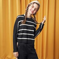 【1件2折到手价:47.8】美特斯邦威毛衣打底衫女冬装新款条纹圆领针织衫可爱专柜款