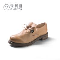 青婉田复古英伦风女鞋学生单鞋女布洛克学院风纽扣小皮鞋女厚底鞋