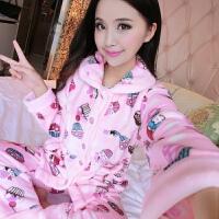 秋冬法兰绒睡衣女加厚珊瑚绒睡衣家居服套装开衫长袖韩版甜美可爱