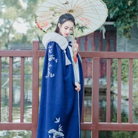 刺绣竹梅传统改良汉服长款冬季加厚毛呢绣花长斗篷外套女 均码