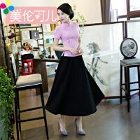 改良时尚短袖旗袍上衣修身短款唐装套装女茶人服中式立领盘扣夏装