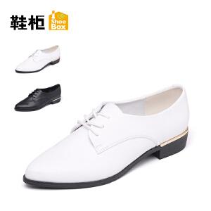 达芙妮集团 鞋柜 秋季新款时尚尖头系带女鞋休闲低跟纯色pu单鞋潮