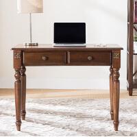 美式书桌办公桌欧式实木书桌书房电脑桌写字台仿古小户型小书桌 1米胡桃色书桌 否