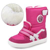 儿童雪地靴女童鞋子冬季棉靴加绒加厚防泼水棉鞋保暖宝宝冬鞋 雪花大棉P