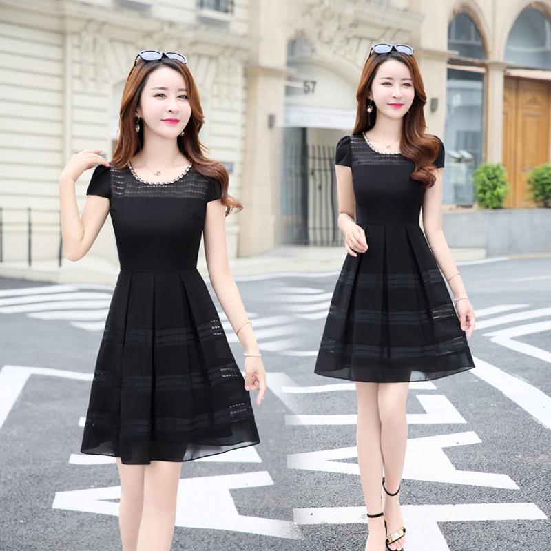 雪纺夏天连衣裙短袖女装2018新款夏装韩版显瘦中长款夏季修身裙子