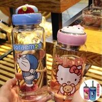 杯子女学生韩版超萌水杯大号玻璃杯可爱夏季广口小清新卡通水杯