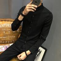 白衬衫男长袖修身秋季新款韩版青年潮流棉麻帅气亚麻男士休闲衬衣 黑色 长袖6001