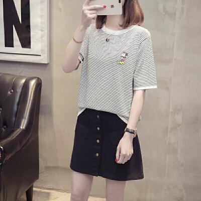 20118夏季新款韩版宽松时尚卡通图案条纹冰麻短袖针织学生套头女