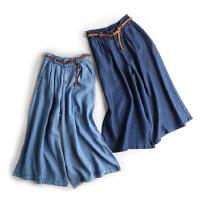 女装夏季时尚薄款一条大长腿高腰阔腿裤牛仔天丝裤九分裤