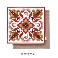 田园民族风手工刺绣精品创意抱枕靠枕垫 沙发靠背垫婚庆新房礼物 桔色