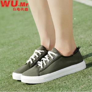 乌龟先森 帆布鞋 女式平底低帮系带韩版运动鞋子女士夏季新款时尚百搭校园平跟休闲鞋