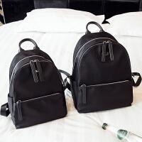 防水女士双肩包新款韩版潮简约百搭欧美牛津布帆布大容量背包 黑色--小号