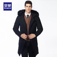 「狂欢!一件3折到手价:662」Romon/罗蒙冬季男士羽绒服保暖中长款商务潮流连帽厚款休闲外套男