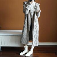 秋冬新款羊绒毛衣女带帽长款宽松开衫过膝加厚针织衫麻花外套大衣yly