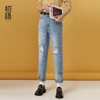 初语破洞牛仔裤女秋新款流行的裤子印花直筒水洗浅色直筒裤女