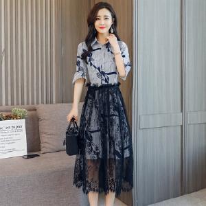 风轩衣度 2018年夏季套装/套裙百搭潮流简约个性时尚POLO领七分袖 2365-820