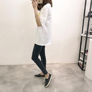 少女2018夏季新款学生韩版字母破洞短袖T恤中长款宽松百搭上衣潮