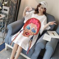 孕妇装夏季韩版时尚卡通娃娃脸印花宽松T恤连衣裙大码舒适孕妈裙 白色