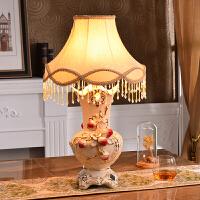 欧式台灯卧室床头灯奢华陶瓷台灯客厅装饰摆件现代创意结婚房礼物 台灯 按钮开关