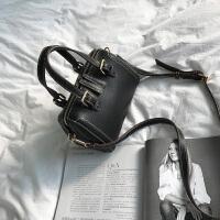枕头包女包2018新款韩版手提包简约百搭迷你红色波士顿单肩斜挎包SN4210 黑色--小号 升级版-少量现货