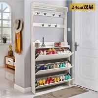 进门超薄翻斗鞋柜简约现代门厅柜门口经济型多功能玄关柜衣架一体