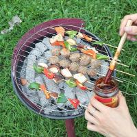 户外便携折叠式烧烤架野外木炭烧烤炉家用不锈钢烧烤炉 黑色