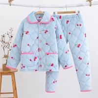 睡衣女冬夹棉法兰绒加厚保暖大码睡衣珊瑚绒甜美休闲家居服可外穿