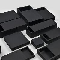 新品礼物盒黑色纸盒包装定制黑卡礼品盒批发礼盒抽屉式盒子长方形通用