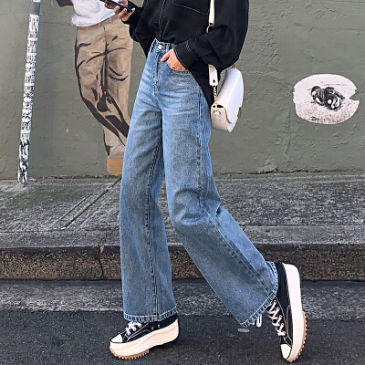 【大牌日2件2折83元仅限2.1日】韩都衣舍2019秋装新款纯色垂坠感高腰老爹拖地牛仔裤女PS9060諨