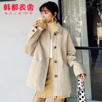 韩都衣舍2019冬季新款小个子呢大衣中长款毛呢外套女