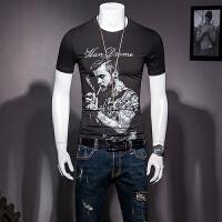 男士短袖T恤夏季圆领半袖小衫丝光棉体恤修身半截袖纹身图案潮流 黑色 M