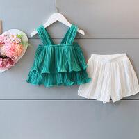 韩版童装夏季新款女童雪纺吊带上衣+短裤套装无袖2件套B3-A25