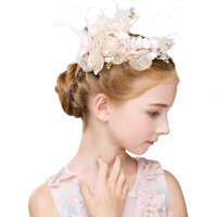 春夏新款生日儿童发箍六一儿童节表演皇冠水钻女童发饰王冠头饰品70 粉红色