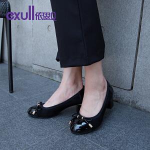 依思q秋季新款蝴蝶结粗高跟鞋绒面单鞋女