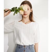白色v领雪纺衫女夏泡泡袖上衣2021新款高端气质短袖遮肚子小衫