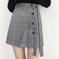韩国学院风秋装新款一片式单排扣系带高腰A字包臀裙女装半身短裙